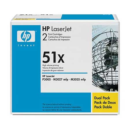 HP 51X (Q7551XD) Original Black Laser Toner Cartridge (Twin Pack)