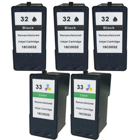 Compatible Multipack Lexmark No.32/No.33 2 Full Sets + 1 EXTRA Black Inkjet Cartridges