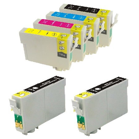 T0881/884 Full Set + 2 EXTRA Black Remanufactured Inks