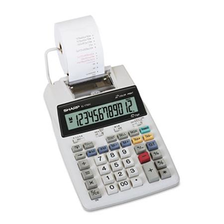 Sharp EL1750V LCD Two-Color Printing Calculator  12-Digit LCD  Black/Red