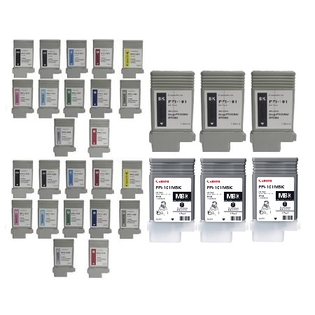 Clickinks PFI-101 2 Full Sets + 6 EXTRA Black Remanufactured Inks