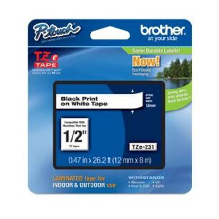 Brother TZe-231 Original P-Touch Label Tape - 1/2 in x 26 ft (12mm x 8m) Black on White