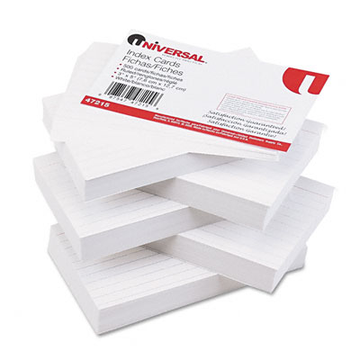 Universal Ruled Index Cards  3 x 5  White  500/Pack