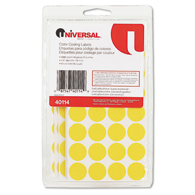 Universal Permanent Self-Adhesive Color-Coding Labels  3/4in dia  Yellow  1008/Pack