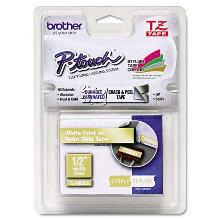 Brother TZeMQ835 Original P-Touch Label Tape - 1/2 x 16.4 ft (12mm x 5m) White on Satin Gold