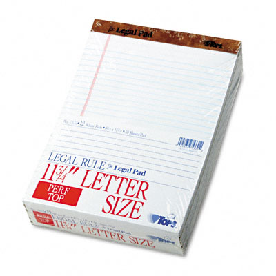 TOPS The Legal Pad Legal Rule Perforated Pads  Letter Size  White  50 Sht Pads  12/Pk
