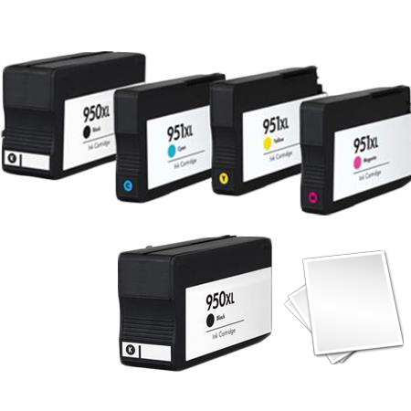 950XL/951XL  Full set + 1 EXTRA Black Remanufactured Inks (Free Paper)