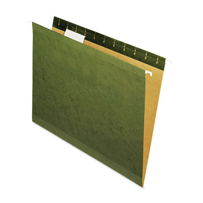 Universal Reinforced Recycled Hanging Folder 1/5 Cut Letter Standard Green 25/Box