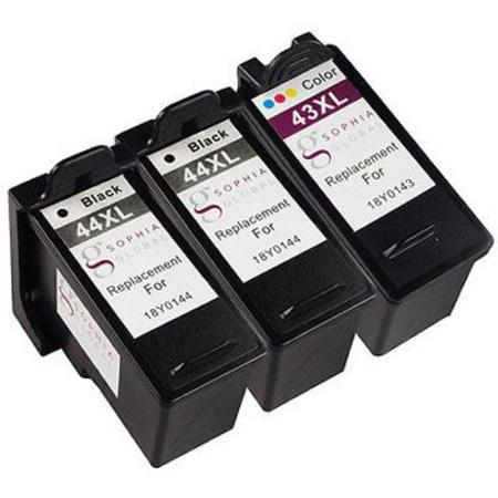 Clickinks No.44XL/No.43XL Full Set + 1 EXTRA Black Remanufactured Ink