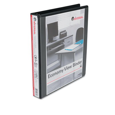 Economy D-Ring Vinyl View Binder 1Inch Capacity Black