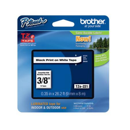 Brother TZe-221 Original P-Touch Label Tape - 3/8 in x 26 ft (9mm x 8m) Black on White