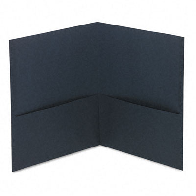 Universal Two-Pocket Portfolio  Embossed Leather Grain Paper  Dark Blue