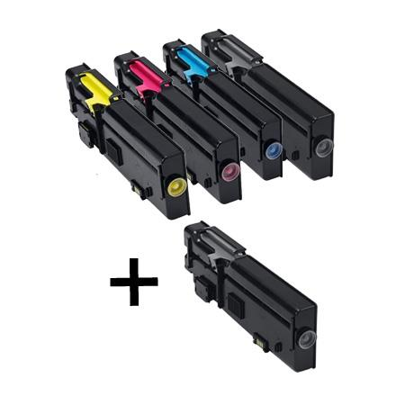 Clickinks 593-BBBU/593-BBBT/S/R Full Set + 1 EXTRA Remanufactured Toners