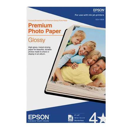 Epson S041808 Premium Glossy Borderless Photo Paper - 40 Sheets