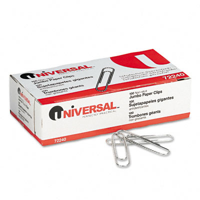 Universal Nonskid Paper Clips  Wire  Jumbo  Silver  100/Box  10 Boxes/Pack