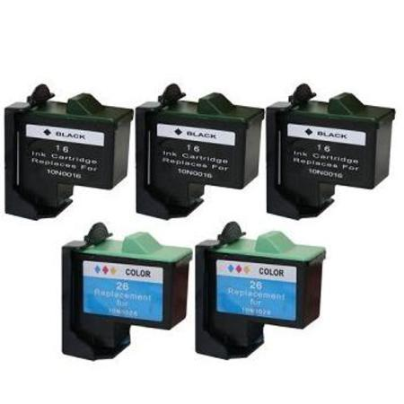 Compatible Multipack Lexmark No.16/No.26 2 Full Sets + 1 EXTRA Black Inkjet Cartridges