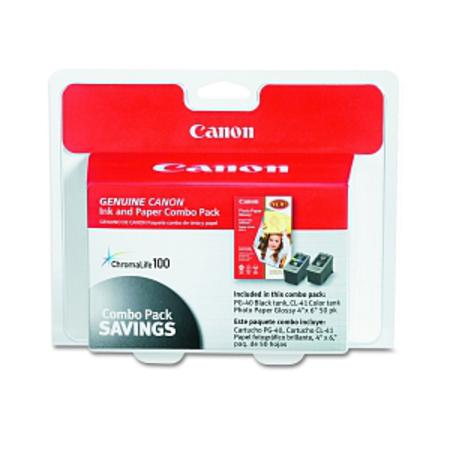 Canon PG-40 CL-41 Black and Color Original Ink Cartridge and Glossy Photo Paper Combo Pack 50 Gloss 4 x 6 Sheets