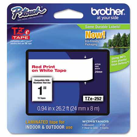 Brother TZe252 Original P-Touch Label Tape - 1 x 26.2 ft (24mm x 8m) Red on White