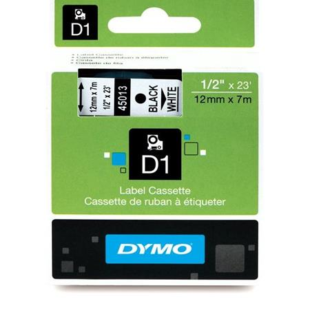 Dymo 45013 Original Label Tape - 1/2in x 23ft (12mm x 7m) Black on White