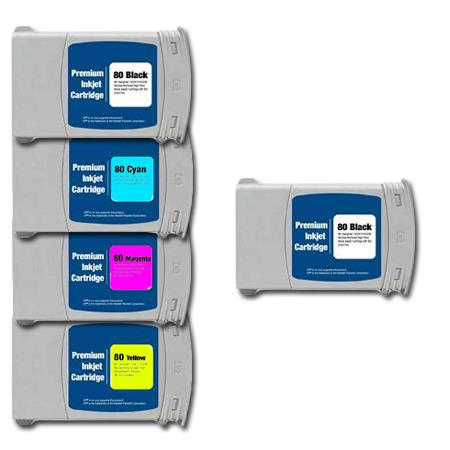 Compatible Multipack HP 80BK/C/M/Y Full Set + 1 EXTRA Black Ink Cartridges