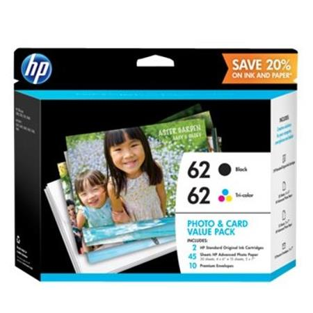 HP 62 Original Black And Tri-Color Standard Capacity Ink Cartridges (K3W67AN)