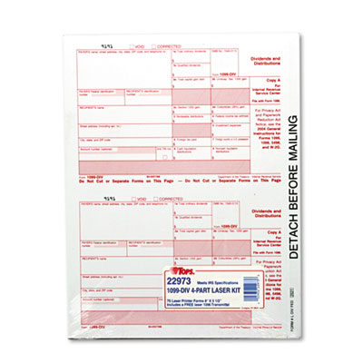 TOPS IRS Approved Tax Form  5-1/2 x 8  Four-Part Carbonless  75 Forms