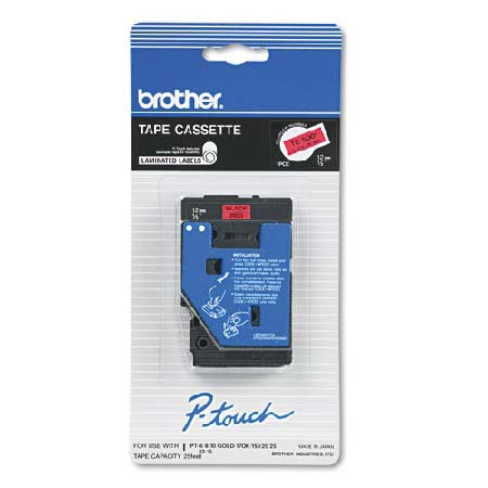 Brother TC5001 Original P-Touch Label Tape -  1/2 x 25.2 ft (12mm x 7.7m) Black on Red