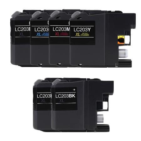 Compatible Multipack Brother LC203BK/C/M/Y Full Set + 2 EXTRA Black Ink Cartridges