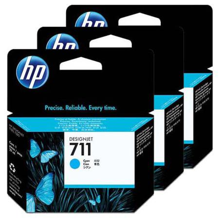 HP 711 Cyan Original Ink Cartridge - 3 Pack (3x29ml)