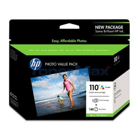HP 110 Series Ink Cartridge-Photo Paper Value Pack w-140 Glossy 4 x 6 Sheets