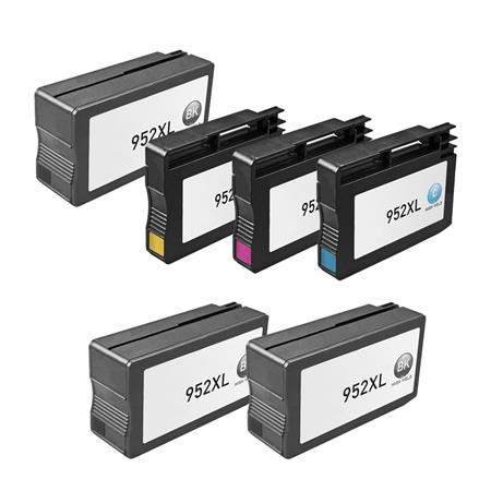 952XL BK/C/M/Y 1 Full set + 2 EXTRA Black Remanufactured High Capacity Inks