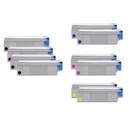 43381901/02/03/04 2 Full Sets + 2 EXTRA Black Remanufactured Toner Cartridges