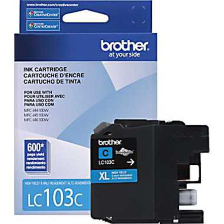 Brother LC103C Cyan Original High Capacity Ink Cartridge