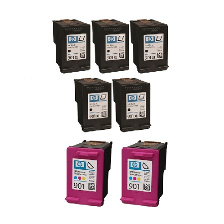 901XL 2 Full Sets + 3 EXTRA Black Remanufactured Inks