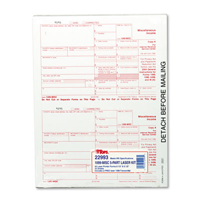 TOPS IRS Approved 1099 Tax Form  8 x 5-1/2  Five-Part Carbonless  50 Forms
