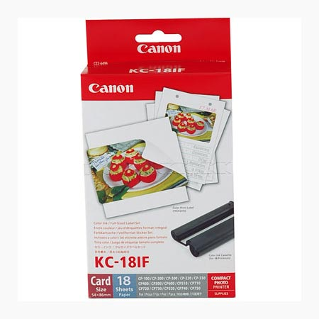 Canon KC-18IF Colour Ink Cartridge/ Label Set 18 sheets( Card size label stickers)