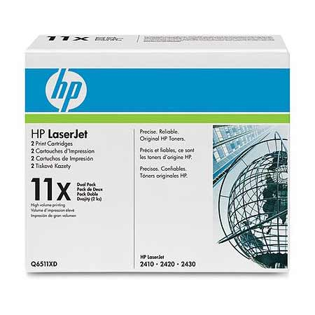 HP 11X (Q6511XD) Original Black High Capacity Laser Toner Cartridge (Twin Pack)