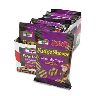 Keebler Mini Cookies  Fudge Stripes  2oz Snack Pack  8 Packs/Box