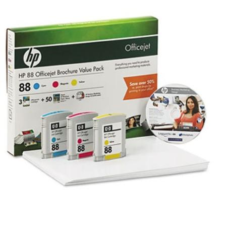 HP 88 Original Color Ink Cartridge Combo Pack w-50 Glossy Brochure Sheets