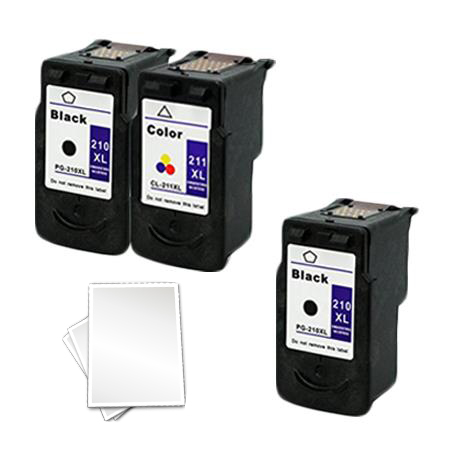 PG-210XL/CL-211XL Full Set + 1 EXTRA Black Remanufactured Ink