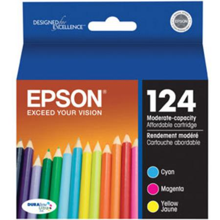 Epson 124 (T124520) - Cyan Magenta Yellow Original Moderate Capacity Ink Cartridges - 3 Pack