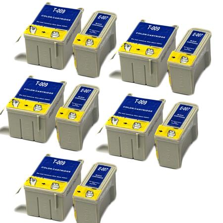 Compatible Multipack Epson T007/T009 5 Full Sets Ink Cartridges