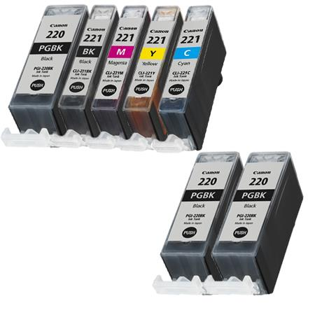 PGI-220BK/ PGI-221BK Full Set + 2 EXTRA Black Compatible Inks