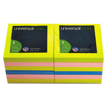 Universal Fan-Folded Pop-Up Notes  3 x 3  4 Neon Colors  12 100-Sheet Pads/Pack