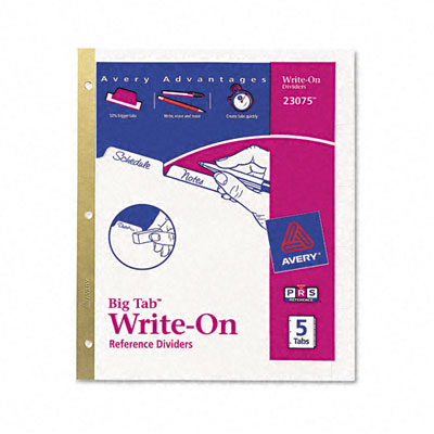 Avery Write-On Index Dividers  Erasable Laminated White Tabs  White  5/Set