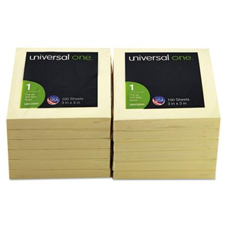 Universal Fan-Folded Pop-Up Notes  3 x 3  Yellow  12 100-Sheet Pads/Pack
