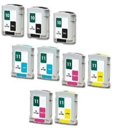 Compatible Multipack HP 10/11BK/C/M/Y 2  Full set + 1 EXTRA Black Ink Cartridges