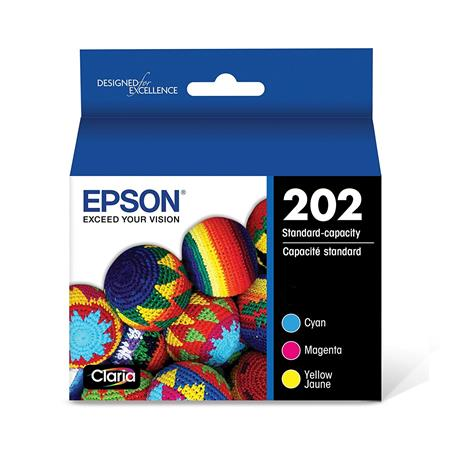Epson 202 (T202520-S) Color Original Standard Capacity Ink Cartridges - 3 Pack
