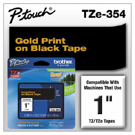 Brother TZe354 Original P-Touch Label Tape - 1 x 26.2 ft (24mm x 8m) Gold on Black