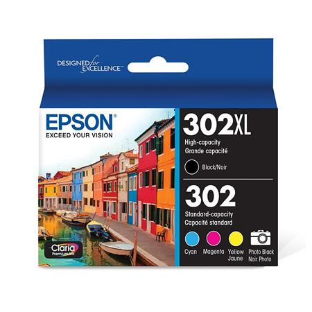 Epson 302 (T302XL-BCS) Black High Capacity and Color Standard Capacity Original Multipack - 5 Pack